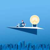 Businessman driving paper airplane with big light bulb idea. Business success concept. Cartoon Vector Illustration royalty free illustration