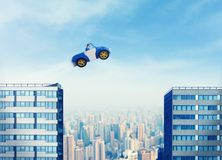Businessman driving a toy car Royalty Free Stock Images