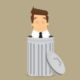 Businessman dropped into trash Royalty Free Stock Photography