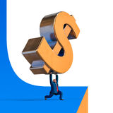 Businessman drops down dollar sign. Business concept illustration. Businessman drops down dollar sign. Business concept cartoon illustration. 3D rendering Stock Images