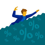 Businessman is drowning in debt and loans. Businessman floating on the sea of percent signs. Business concept - man in blue suit is drowning in debt and loans Royalty Free Stock Images
