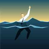 Businessman is drowning in the deep ocean of problems Stock Photography