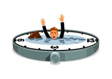 Businessman drowning in time. Businessman sinking in time. Business and work overtime excess. Free time lack. Vector clock element with water lake, desperate Royalty Free Stock Photos