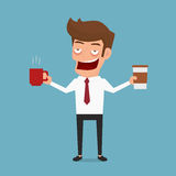 Businessman drowsiness want to drink coffee. Coffee addicted. Stock Photos