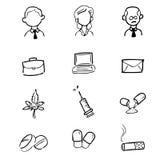 Businessman drugs icons set Royalty Free Stock Photos