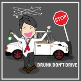 Businessman drunk driving hit traffic signs out off of car with Royalty Free Stock Photos