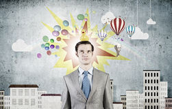Businessman with duck Royalty Free Stock Images