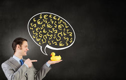 Businessman with duck Royalty Free Stock Photo