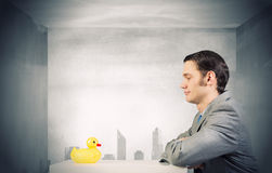 Businessman with duck Royalty Free Stock Photos