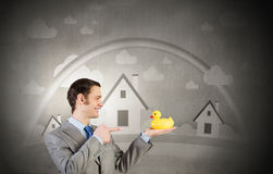 Businessman with duck Royalty Free Stock Photography