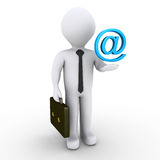 Businessman with e-mail symbol. 3d businessman with blue e-mail symbol over his hand Royalty Free Stock Photo
