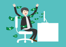 Businessman Earning Lots Of Cash In Internet . online business. On green background Stock Images