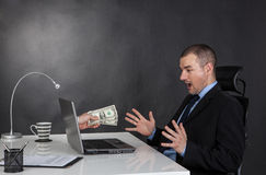 Businessman earning money on network. Royalty Free Stock Photography