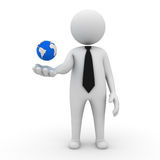 Businessman with earth globe. 3d business man with earth globe in his hand on white background Royalty Free Stock Photos
