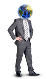 Businessman with Earth instead head Royalty Free Stock Photography