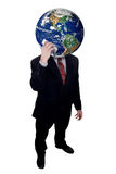 Businessman with Earth head holding cell phone Royalty Free Stock Photos