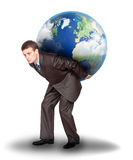 Businessman with the earth on his back Royalty Free Stock Image