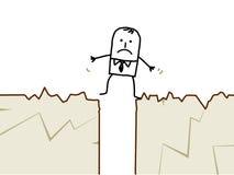 Businessman & earthquake. Hand drawn cartoon character - businessman & earthquake Stock Image