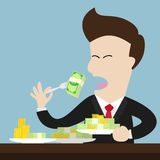 Businessman eat money bill and coin as meal. Stock Images