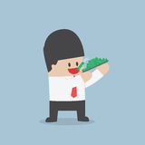Businessman eating dollars, Corruption and greed concept. VECTOR, EPS10 Stock Photo