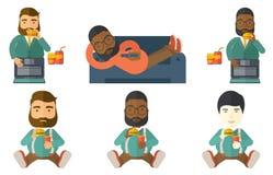 Businessman eating hamburger vector illustration. Royalty Free Stock Image