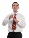Businessman Eating Yogurt Stock Photo
