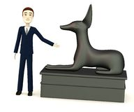 Businessman with egyptian statue. 3d render of cartoon businessman with egyptian statue Stock Images