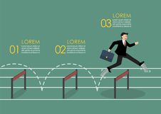 Businessman with elastic spring shoes jumping over hurdle infogr Stock Photography
