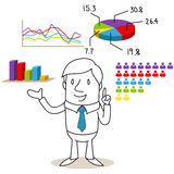 Businessman with election results and charts Stock Photography