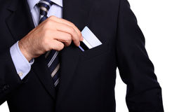 Businessman with an electronic card on his pocket Royalty Free Stock Photography