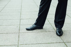 Businessman elegant shoes close up. Royalty Free Stock Image