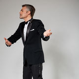 Businessman in elegant suit dancing with an Royalty Free Stock Photos