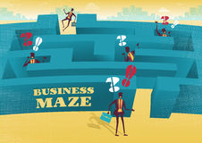 Businessman embarks on a difficult Maze journey. Royalty Free Stock Images