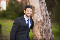 Businessman embrace a tree trunk Royalty Free Stock Photo