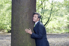 Businessman Embracing Tree Trunk In Forest Royalty Free Stock Photography