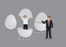 Businessman Emerges from Egg Cartoon Vector Illustration Stock Image