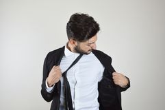 Young businessman emotional stress and bored royalty free stock image