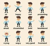 Businessman emotions set Stock Photography