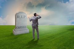 The businessman employee mourning his unsuccessul career. Businessman employee mourning his unsuccessul career Royalty Free Stock Photo
