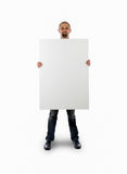 Businessman with empty board Stock Images