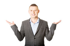 Businessman with empty both hands Stock Photography