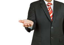 Businessman with empty hand. On white background Royalty Free Stock Image
