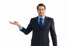 Businessman with empty hand open Stock Photo