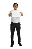 Businessman and Empty Paper Template Stock Image
