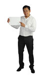 Businessman and Empty Paper Template Royalty Free Stock Photography