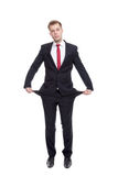 Businessman with empty pockets Stock Images