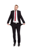 Businessman with empty pockets Stock Photos