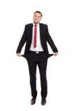 Businessman with empty pockets Stock Photos