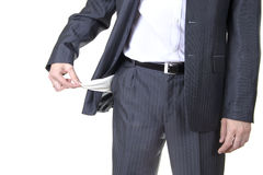 Businessman with Empty Pockets. Isolated Royalty Free Stock Images