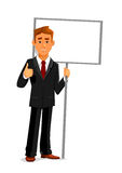 Businessman with an empty sign board and thumb up. Cartoon smiling businessman is holding a blank sign board with copy space and showing thumb up sign. Business Stock Photos
